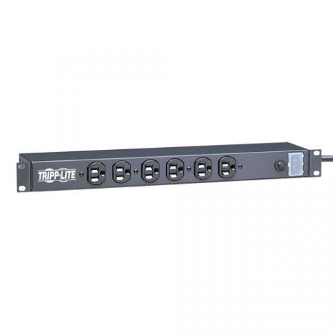Regleta y Multicontacto Tripp Lite RS-0615-F Barra de Contactos para Servidores de Red de Instalación en Rack de 1U, 120V, 15A, 6 Tomacorrientes (Hacia Adelante), Cable de 4.57 m [15 pies]