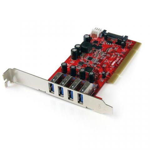 Adaptador para red StarTech.com Tarjeta Adaptador PCI USB 3.0 SuperSpeed de 4 puertos con Conector LP4 SATA - Hub Concentrador Interno