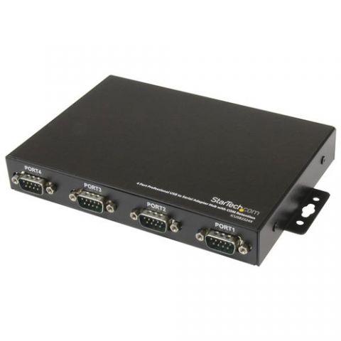 Adaptador USB red StarTech.com Adaptador Concentrador Hub 4 Puertos Serial RS232 DB9 a USB con Retención Puerto COM