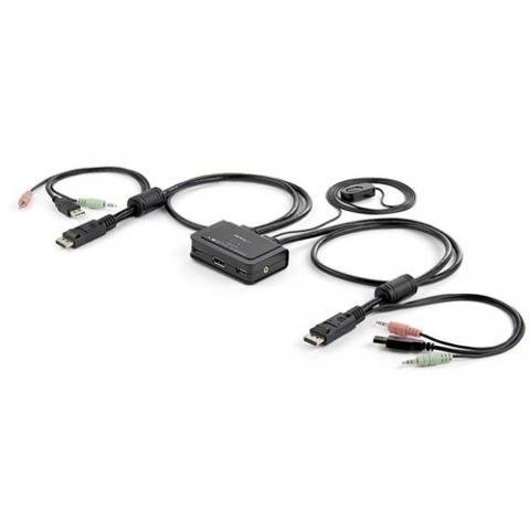 Accesorio StarTech.com Conmutador Switch KVM 2 puertos DisplayPort DP USB Audio con Cables Integrados - 1080p