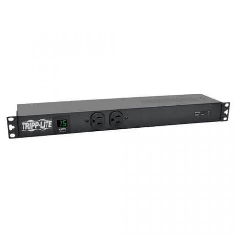 PDU Tripp Lite PDUMH15-ISO PDU Monofásico de 1.44kW con Medidor Digital + Supresión de Sobretensiones Isobar, 3840 Joules, Tomacorrientes de 120V (14 5-15R), 5-15P, Cable de 4.6 m [15 pies], para Instalación 1U en Rack