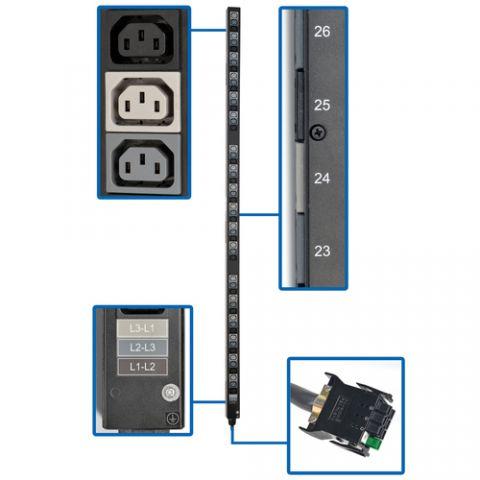Regleta y Multicontacto Tripp Lite PDU3V20D354 Barra de Contactos para PDU Vertical Trifásica de 8.6/12.6kW, Tomacorrientes de 208 V (54 C13), Accesorio para Instalación en Rack de 0U para PDU con ATS selectas
