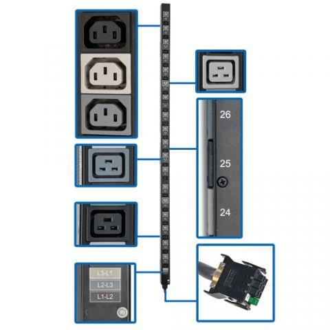 Regleta y Multicontacto Tripp Lite PDU3V20D354A Barra de Contactos para PDU Vertical Trifásica de 8.6/12.6kW, Tomacorrientes de 208V (42 C13 y 12 C19), Accesorio para Instalación en Rack de 0U para PDU con ATS selectas