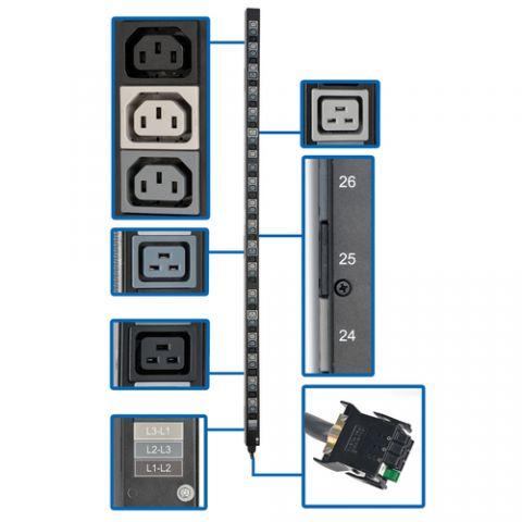 Regleta y Multicontacto Tripp Lite PDU3V20D354B Barra de Contactos para PDU Vertical Trifásica de 8.6/12.6kW, Tomacorrientes de 208 (48 C13 y 6 C19), Accesorio para Instalación en Rack de 0U para PDUs con ATS selectas