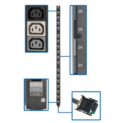 PDU Tripp Lite PDU3V51 Barra PDU Vertical Trifásica de 8.6/12.6kW, Tomacorrientes de 208V (51 C13), para Instalación en Rack de 0U, Accesorio Requerido para PDUs con ATS selectos