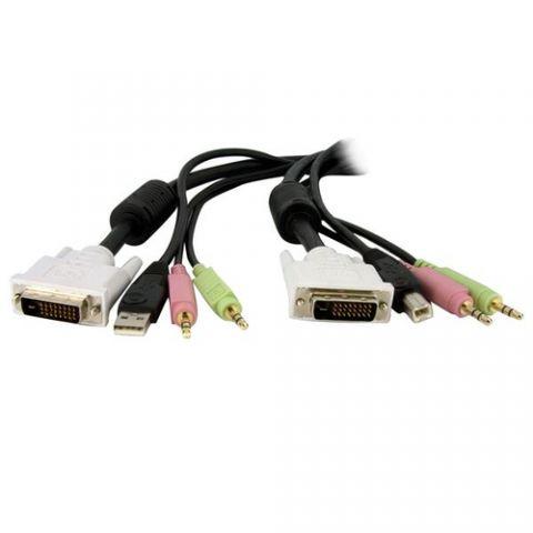 Accesorio StarTech.com Cable de 1.8m para Switch Conmutador KVM 4en1 DVI-D Dual Link Doble Enlace USB con Audio Micrófono