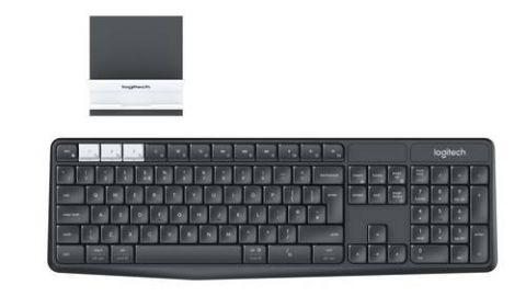 Teclado y raton Logitech K375s teclado RF inalámbrico + bluetooth QWERTY Grafito, Blanco