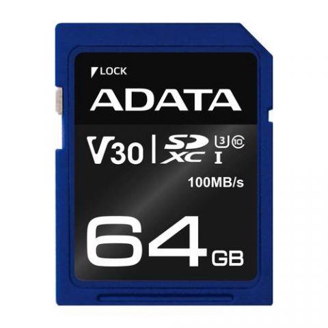 Memoria SD ADATA SDXC UHS-I U3 - 64 GB, 100 MB/s, 60 MB/s, Azul, Clase 10 ASDX64GUI3V30S-R