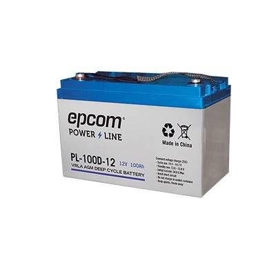 Acumulador EPCOM PL-100-D12 - Sealed Lead Acid (VRLA), 100000 mAh, Dispositivo de seguridad, 12 V, Azul, Blanco PL-100-D12