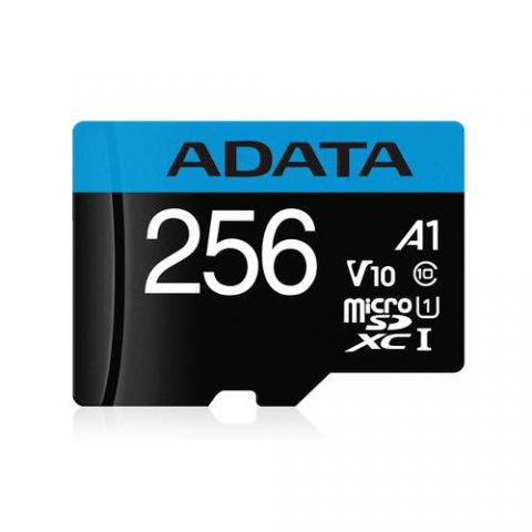 Micro SD 256GB Class 10 ADATA  Premier A1 UHS-I - 256 GB, 100 MB/s, 25 MB/s, Negro, Clase 10 AUSDX256GUICL10A1-RA1