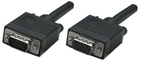 Cable VGA - HD15 - Extension MANHATTAN - 3 m, VGA (D-Sub), VGA (D-Sub), Macho/hembra, Negro 313599