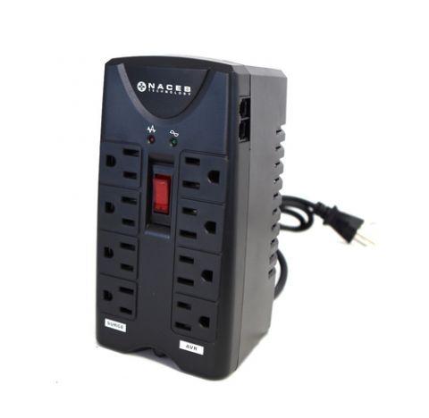 Regulador Naceb Technology NA-0704 regulador de voltaje 8 salidas AC 120 V Negro