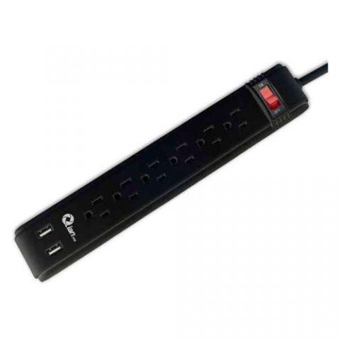 Regleta y Multicontacto Qian EN260 extensión de corriente 0.46 m 6 salidas AC Interior Negro