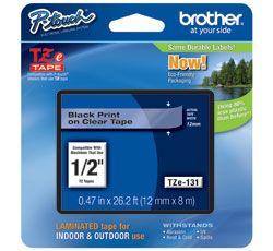 Cinta Brother TZe131 cinta para impresora de etiquetas Negro sobre transparente TZe