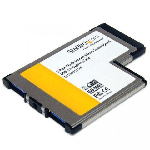 Adaptador para red StarTech.com Tarjeta Adaptador ExpressCard/54 USB 3.0 SuperSpeed de 2 Puertos con UASP - Montaje al Ras - Flush Mount