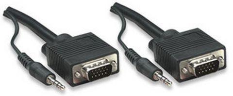 Accesorio Manhattan HD15, 3.5mm/HD15, 3.5mm, M/M, 1.8m VGA (D-Sub) + 3,5mm Negro