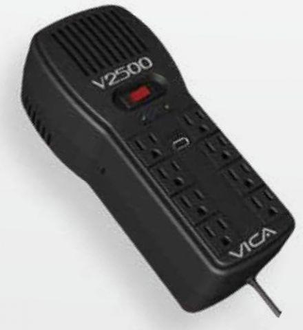 Regulador Vica V2500 supresor de picos Negro 8 salidas AC 100-127 V
