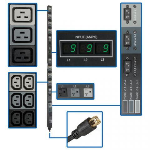 PDU Tripp Lite PDU3MV6L2130 PDU Trifásico de 8.6kW con Medidor Digital, Tomacorrientes de 208V / 120V (36 C13, 6 C19, 6 5-15/20R), L21-30P, Cable de 1.83 m [6 pies], Vertical de 0U, TAA
