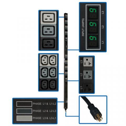 PDU Tripp Lite PDU3MV6L2120 PDU Trifásico de 5.7kW con Medidor Digital, de 208V / 120V, 45 Tomacorrientes (36 C13, 6 C19, 6 5-15/20R), L21-20P, Cable de 1.83 m [6 pies], Vertical de 0U, TAA