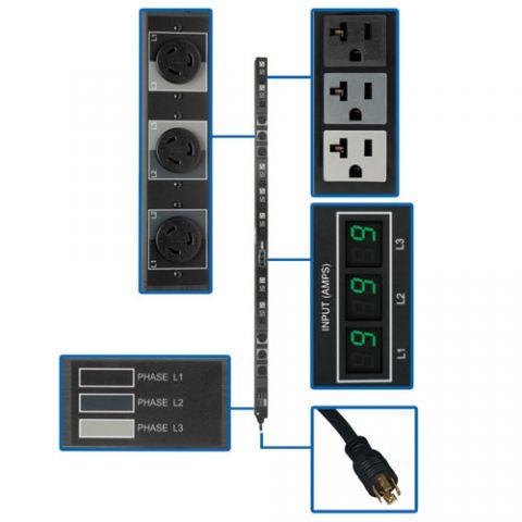 PDU Tripp Lite PDU3MV6L2120B PDU Trifásico de 5.7kW con Medidor Digital, de 208V / 120V, 45 Tomacorrientes (21 5-15/20R, 6 L6-20R), L21-20P, Cable de 1.83 m [6 pies], Vertical de 0U, TAA