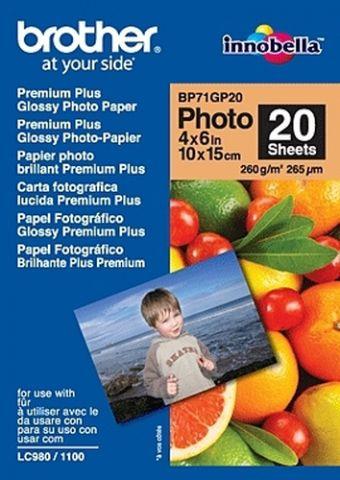 Papelería Brother BP71GP20 Premium Glossy Photo Paper papel fotográfico Blanco