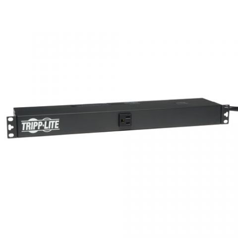Regleta y Multicontacto Tripp Lite PDU1215 PDU Básico Monofásico de 1.8kW 120V, 13 Tomacorrientes NEMA 5-15R, Entrada NEMA 5-15P, Cable de 4.57 m [15 pies], Instalación en 1U de Rack.