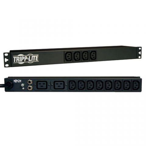 PDU Tripp Lite PDUNV PDU Básico monofásico de 1.6kW / 3.8kW de 100V ~ 240V, 14 tomacorrientes (12 C13 y 2 C19), C20 con 5 Adaptadores, Cable de 3.05 m [10 pies], 1U para Instalación en Rack