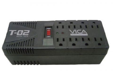 Regulador Vica T-02 regulador de voltaje 8 salidas AC 127 V Negro