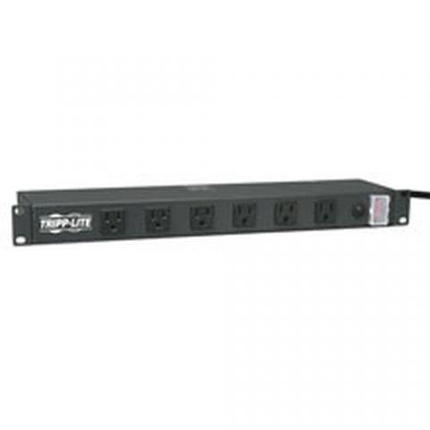 Regleta y Multicontacto Tripp Lite RS-1215-RA Barra de Contactos para Instalacion en Rack de 1U, 120V, 15A, 5-15P, 12 Tomacorrientes (ampliamente espaciados en angulo recto), Cable de 4.57 m (15 pies)
