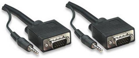 Accesorio Manhattan 15m SVGA Audio Cable VGA (D-Sub) + 3,5mm Negro